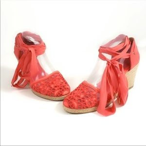Aldo | Peach Espadrille Lace Up Wedges Sz 7
